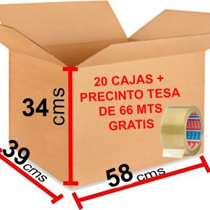 20 Cajas de Cartón Grandes 58x39x34 cm + 1 Rollo de Precinto Tesa de 66 mts Gratis Pack Oferta de Cajas Resistentes Baratas Manejables para Mudanzas Transporte Almacenaje Cajas muy Económicas y Fuertes