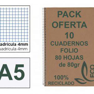 Cuadernos Reciclados Baratos Tamaño DIN A5 Cuarto ó Libreta con Espiral Metálica Pack 10 Cuadernos de Papel Reciclado y 80 Hojas Cuadrícula 4mm con Margen Cuadernos Ecológicos de Hojas Recicladas Cuadernos A5 Eco con Hojas Recicladas 100% de 80gr tamaño Libreta.