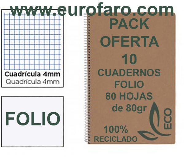 Cuadernos Reciclados Baratos Tamaño Folio con Espiral Metálica Pack 10 Cuadernos de Papel Reciclado y 80 Hojas Cuadrícula 4mm Cuadernos Ecológicos de Hojas Recicladas Cuadernos A4 Folio A5 Eco con Hojas Recicladas 100% de 80gr