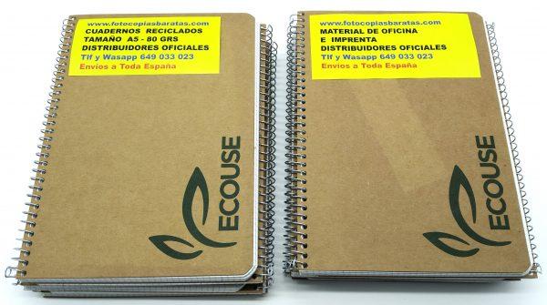 Cuadernos Reciclados DIN A5 ó Cuarto con Espiral metálica y cuadrícula de 4mm Cuadernos Reciclados al cien por cien con 80 hojas por cuaderno en Pack Oferta 10 Cuadernos de Hojas Recicladas Respetuosos Medioambientalmente Cuadernos Ecológicos para Colegios ONG Instituciones y Empresas Cuadernos Eco de Hojas Recicladas al 100% Cuadernos Reciclados con hojas Recicladas para todas aquellas personas, empresas, colegios ONG o Institutos preocupados por el Medio Ambiente Cuadernos Ecológicos y Sostenibles de 80 hojas con Responsabilidad ante el Medio Ambiente Si te gusta Reciclar te gustarán estos Cuadernos Reciclados de precioso diseño y súper prácticos tanto para niños como para mayores. Estos son los Mejores Cuadernos Reciclados del mercado Gracias a su Sencillez y Economía de fabricación. Cuantos más cuadernos reciclados utilice en cada curso Más estará contribuyendo a la sostenibilidad y recuperación de nuestro Planeta. Estos cuadernos reciclados los tenemos a la venta en tamaño Folio y en tamaño DIN A5 ó Cuarto. Estos Cuadernos Reciclados Ecológicos están fabricados con hojas recicladas de 80 grs que permiten escribir y subrayar perfectamente por ambas caras de la hoja. Si están interesados en comprar gran cantidad de cuadernos reciclados ecológicos pueden comprar un pack probarlos y después hablamos. Este Magnífico Precio del Pack de 10 Cuadernos Reciclados Ecológicos lo tenemos en Oferta Hasta fin de Existencias en el almacén. Igualmente tenemos otros tamaños de cuadernos reciclados en Oferta Gracias a su excelente precio merece la pena comprar los Cuadernos por lotes pues el precio del transporte está incluido Las Hojas Recicladas de estos cuadernos Aseguran una escritura y acabado Profesional y un Ahorro de Coste Enorme ya que hemos reducido su precio al máximo Son Cuadernos Reciclados Baratos que aseguran Rapidez Economía y Durabilidad en su uso en Colegios Empresas ONG Instituciones Si aún así usted recibe nuestros Cuadernos Reciclados Económicos y no le sirve