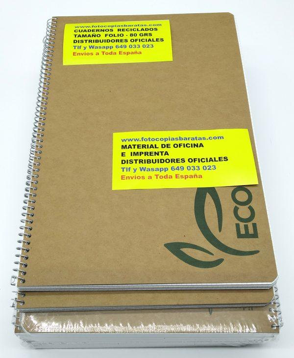 Cuadernos Reciclados Folio con Espiral metálica y cuadrícula de 4mm Cuadernos Reciclados al cien por cien con 80 hojas por cuaderno en Pack Oferta 10 Cuadernos de Hojas Recicladas Respetuosos Medioambientalmente Cuadernos Ecológicos para Colegios ONG Instituciones y Empresas Cuadernos Eco de Hojas Recicladas al 100% Cuadernos Reciclados con hojas Recicladas para todas aquellas personas, empresas, colegios ONG o Institutos preocupados por el Medio Ambiente Cuadernos Ecológicos y Sostenibles de 80 hojas con Responsabilidad ante el Medio Ambiente Si te gusta Reciclar te gustarán estos Cuadernos Reciclados de precioso diseño y súper prácticos tanto para niños como para mayores. Estos son los Mejores Cuadernos Reciclados del mercado Gracias a su Sencillez y Economía de fabricación. Cuantos más cuadernos reciclados utilice en cada curso Más estará contribuyendo a la sostenibilidad y recuperación de nuestro Planeta. Estos cuadernos reciclados los tenemos a la venta en tamaño Folio y en tamaño DIN A5. Estos Cuadernos Reciclados Ecológicos están fabricados con hojas recicladas de 80 grs que permiten escribir y subrayar perfectamente por ambas caras de la hoja. Si están interesados en comprar gran cantidad de cuadernos reciclados ecológicos pueden comprar un pack probarlos y después hablamos. Este Magnífico Precio del Pack de 10 Cuadernos Reciclados Ecológicos lo tenemos en Oferta Hasta fin de Existencias en el almacén. Igualmente tenemos otros tamaños de cuadernos reciclados en Oferta Gracias a su excelente precio merece la pena comprar los Cuadernos por lotes pues el precio del transporte está incluido Las Hojas Recicladas de estos cuadernos Aseguran una escritura y acabado Profesional y un Ahorro de Coste Enorme ya que hemos reducido su precio al máximo Son Cuadernos Reciclados Baratos que aseguran Rapidez Economía y Durabilidad en su uso en Colegios Empresas ONG Instituciones Si aún así usted recibe nuestros Cuadernos Reciclados Económicos y no le sirven puede llamarnos y