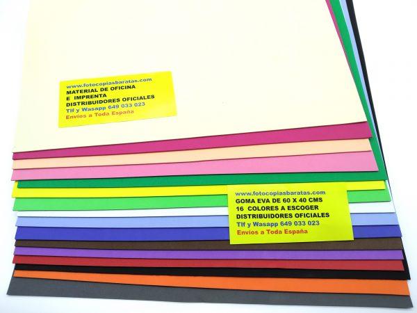 Goma Eva Barata de 60 x 40 x 2mm Pack Oferta 20 Láminas de 16 Colores Diferentes a Escoger por Ustedes tras la compra Nosotros les llamamos y Ustedes Escogen Cuantos Colores quieren mezclar en su pedido de Goma Eva Foam ó Foamy Tenemos Goma Eva Foam ó Foamy Barata de Colores: Rojo, Azul Claro y Oscuro, Verde Claro y Oscuro, Amarilla, Negra, Blanca, Gris, Rosa, Naranja, Piel ó Crema, Marrón, Morado ó Lila, y Rosa Fucsia para escoger. Este Pack Súper Ahorro de 20 Láminas ó Planchas de Goma Eva supera los mejores precios ofertados por otras marcas de Foam ó Foamy Baratas. - Estas Láminas de Goma Eva de 2mm son mucho más manejable y fácil de usar que otras gracias a su especial composición y son lavables. - Láminas de Goma Eva Lavables Suaves Flexibles Fáciles de Cortar y de Pegar No Tóxicas e Impermeables. Goma Eva moldeable con calor. Goma Eva Económica con Certificado de Seguridad Europeo UN EN 71 - Estas Láminas de Goma Eva garantizan metros y metros de figuras, manualidades, números, disfraces, flores, coronas, fofuchas, broches para la ropa. Gracias a utilizar nuestras Láminas ó Planchas de Goma Eva Usted podrá ahorrar dinero a sus alumnos o familiares. Su diseño SIN Disolventes NI Tóxicos permite lavarlas Sin que se Decoloren permaneciendo impermeables. Gracias a su excelente precio merece la pena comprar el Pack de 20 láminas de Gomas Eva en oferta. - Las Láminas de Goma Eva de 60 x 40 x 2mm son las más usadas en Colegios y Guarderías de España para hacer fofuchas, máscaras, disfraces,broches y muñecos. Su medida de 60 x 40 cms es una medida perfecta para su correcto manejo, corte y aprovechamiento. Goma Eva Barata en Láminas o Planchas de 60 x 40 cms con 16 Colores Surtidos a escoger por Ustedes. Tras hacer su pedido, nosotros les llamamos y Ustedes nos dicen qué colores y cantidades de Goma Eva quieren de cada color disponible. No podemos garantizar este precio de manera indefinida aproveche ahora esta oferta de Goma Eva Barata Goma Eva Barata de 60 x 40 x 2mm