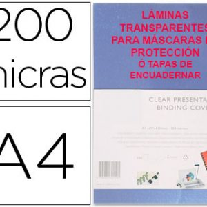 Láminas Transparentes o Tapas de Encuadernar de 200 Micras Din A4 para Fabricar Máscaras contra el Coronavirus Covid 19. 100 Láminas Transparentes de Protección para la cara de 200 Micras. Estas son las Láminas de Protección de Mejor Calidad contra el Covid 19 ó Coronavirus Material para la fabricación de máscaras de protección baratas y rápidas contra el coronavirus covid 19 compuesto por un paquete completo de láminas Transparentes ó Tapas de Encuadernar de 200 Micras para hacer máscaras de protección utilizando para su cierre trozos de velcro o goma elástica para el contorno de la cabeza. Las láminas transparentes tienen un tamaño de DIN A4 es decir 30 x 21 centímetros. Paquete completo con 100 láminas transparentes de protección Din A4 de 200 micras para hacer máscaras de protección súper rápidas y económicas para protegerse la cara, la nariz, los ojos y la boca del contacto contra el Coronavirus ó Covid19 Hacemos envíos de láminas especiales o tapas de encuadernar para mascarillas de protección y tapas transparentes o láminas protectoras de 200 micras a toda España. Este diseño de máscaras de protección individuales 3D contra el Coronavirus es el más moderno y rápido que hemos encontrado en el mercado, y estos son los materiales necesarios para fabricar las máscaras a toda velocidad y de forma súper barata. El precio de estos materiales para la fabricación de mascarillas contra el Coronavirus incluye los portes para cualquier destino dentro de la península española. El precio para las islas varía dependiendo de la cantidad de láminas ó tapas que contenga cada envío. Soliciten precio personalizado por anticipado. Gracias Para fabricar unas máscaras de protección anti Coronavirus o Covid 19 sólo necesita para cada persona que las valla a llevar una pieza de unos 60 centímetros de velcro adhesivo, otra pieza de velcro de 21 cms que es la que va pegada a la lámina transparente que nos protege la cara, y la propia lámina transparente de 200 micras de grosor que nos 