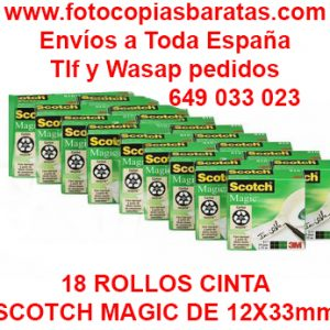 Cinta Adhesiva Scotch Magic 33x12 Barata en Pack Oferta de 18 Rollos Envíos a Toda España Portes Gratis Cinta Scotch Magic Invisible Corte Fácil No amarillea Cinta Scotch al Mejor Precio Cinta Adhesiva Scotch Magic Invisible de 33 metros x 12 milímetros cada rollo en Pack Oferta de 18 Rollos al mejor precio online y con Portes Gratis para toda la península Española.