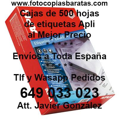 Etiquetas Adhesivas Apli Baratas Cajas de 500 Hojas de Cantos Rectos al Mejor Precio Tras su compra nosotros les llamamos y Uds escogen el modelo de Etiquetas Apli que necesiten de todas estas referencias Etiquetas Baratas Apli Cajas de 500 Hojas referencia 01788 01776 01777 01778 01779 01781 01782 01783 01784 01785 01786 01787 01794 01795 01796 01797 10557 10558 10559 10560 10562 10563 10564 10561 02529 al Mejor Precio con envío a domicilio incluido.