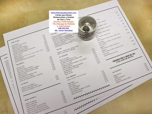 Cartas para Bares y Restaurantes de Usar y Tirar personalizadas con papel normal o reciclado Cartas de Menús para Hoteles Cartas de Precios de Menú Baratas Impresión Económica